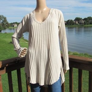 We The Free Knit Notched Long Sleeve Tunic Sweater
